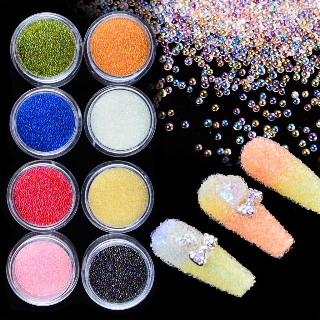 WUF, 1 unidad, caja mixta de diamantes de imitación para uñas, cristal brillante 3D, Mini cuentas para arte de uñas pequeñas, decoraciones de diamantes de imitación AB, Caviar de piedra DIY