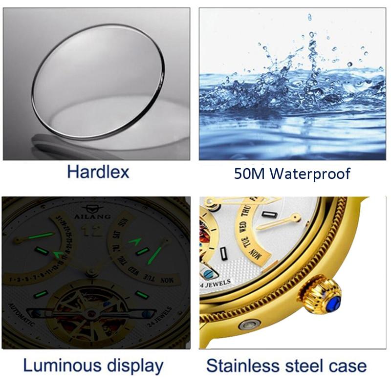 AILANG Men's Business Multifunctional Waterproof Week Month Display Automatic Mechanical Watches Men Watch Creative 5802B enlarge