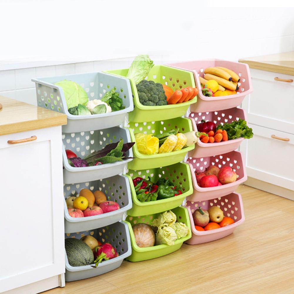Durable apilable de una sola cubierta hueco frutas Almacenamiento de vegetales caja coladores colador cocina organizador cesta estante estantes agradable