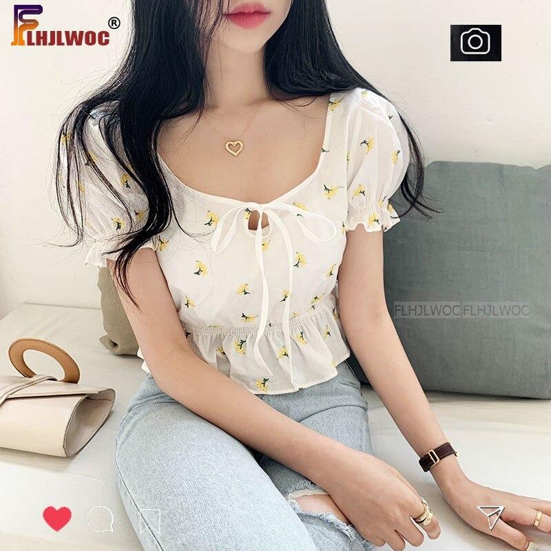 Flower Lovely Cute Chic Tops Flhjlwoc Vestido Women Korea Slim Elastic Waist Peplum Blouse Shirts Lolita Bow Tie Short Crop Top