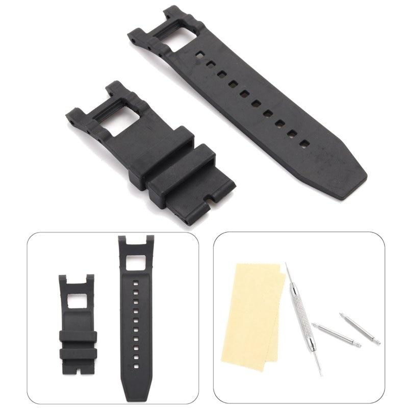 Correa de reloj negra de goma blanda de PVC de 28mm para invicta-subaqua Noma con herramientas de reparación correa de reloj para hombre pulsera Subaqua deportiva específica
