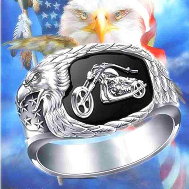 CHUHAN moda Freedoms Ride Cowboy anillo con grabado de motocicleta Punk alas de águila estrellas anillos para hombres Hip Hop Rock vikingo joyería regalos