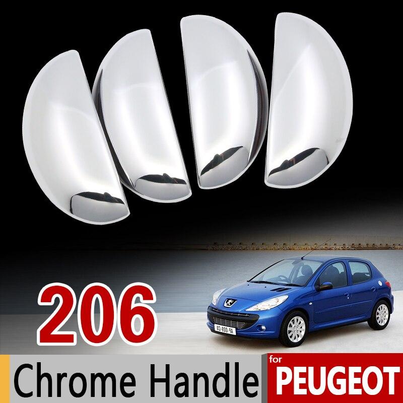 Für Peugeot 206 206 + 206sw 206cc Limousine Chrom Griff Abdeckung Trim Set 1998 1999 2002 2005 2006 Auto zubehör Aufkleber Auto Styling