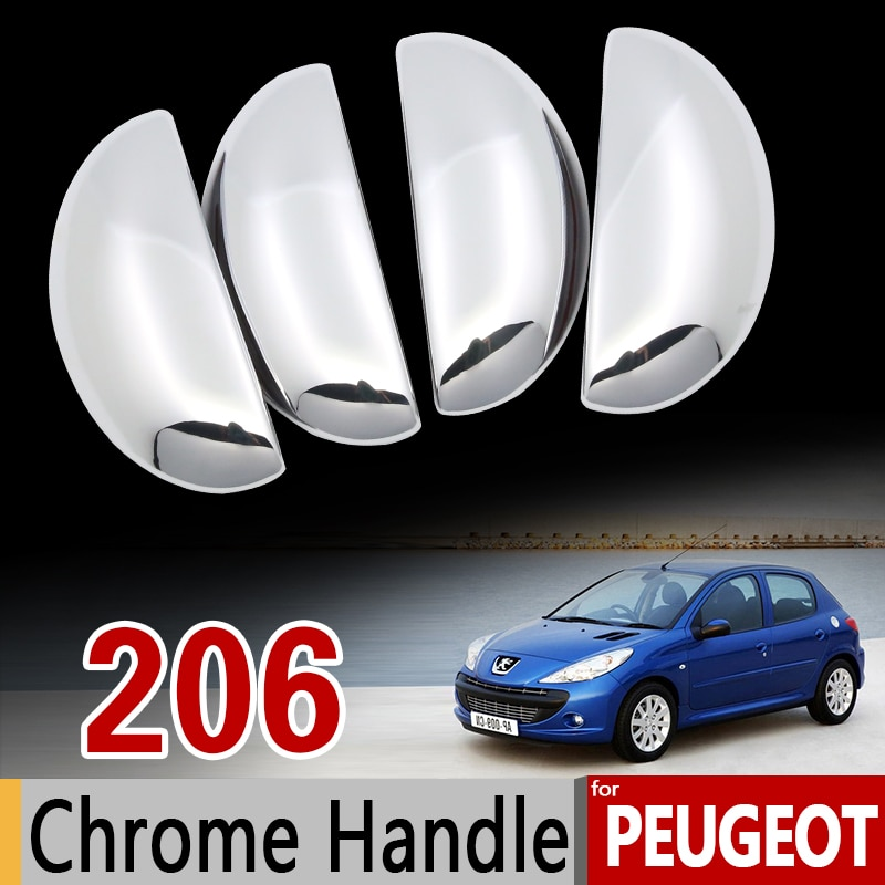for Peugeot 206 206+ 206sw 206cc Sedan Chrome Handle Cover Trim Set 1998 1999 2002 2005 2006 Car Accessories Sticker Car Styling
