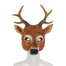 Kerst Maskers Rendier 3D Dier Realistische Halloween Carnaval Kostuum Bal Carnaval Party Pu Schuim Latex Herten Hoofd Cosplay Masker