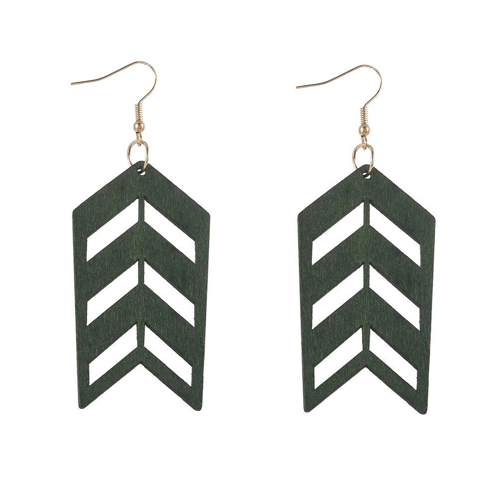 ZWPON moda Natural madera Arrowed pendientes mujeres recorte invertido V pendientes joyería al por mayor