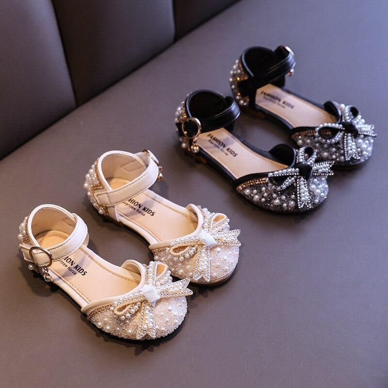 New Children Princess Shoes Baby Girls Flat Bling Leather Sandals Fashion Sequin Soft Kids Dance Par