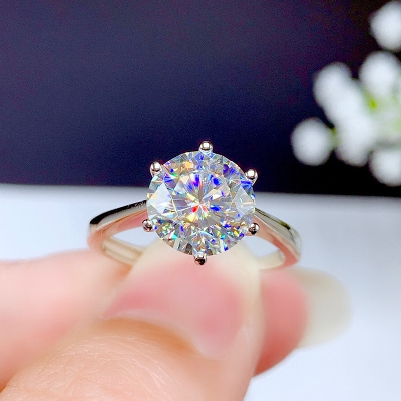 Promo Moissanite Ring 2CT 3CT VVS Lab Diamond With Certififcate Fashion Jewelry for Women Wedding Gift Real 925 Sterling Silver