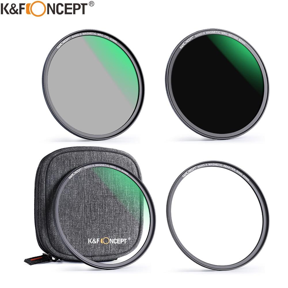K & F مفهوم مرشح مغناطيسي عدة ND1000 MC UV CPL الترا سليم تصفية سهلة التركيب عدسة الكاميرا و تصفية الحقيبة 52 مللي متر 58 مللي متر 62 مللي متر 67 مللي متر