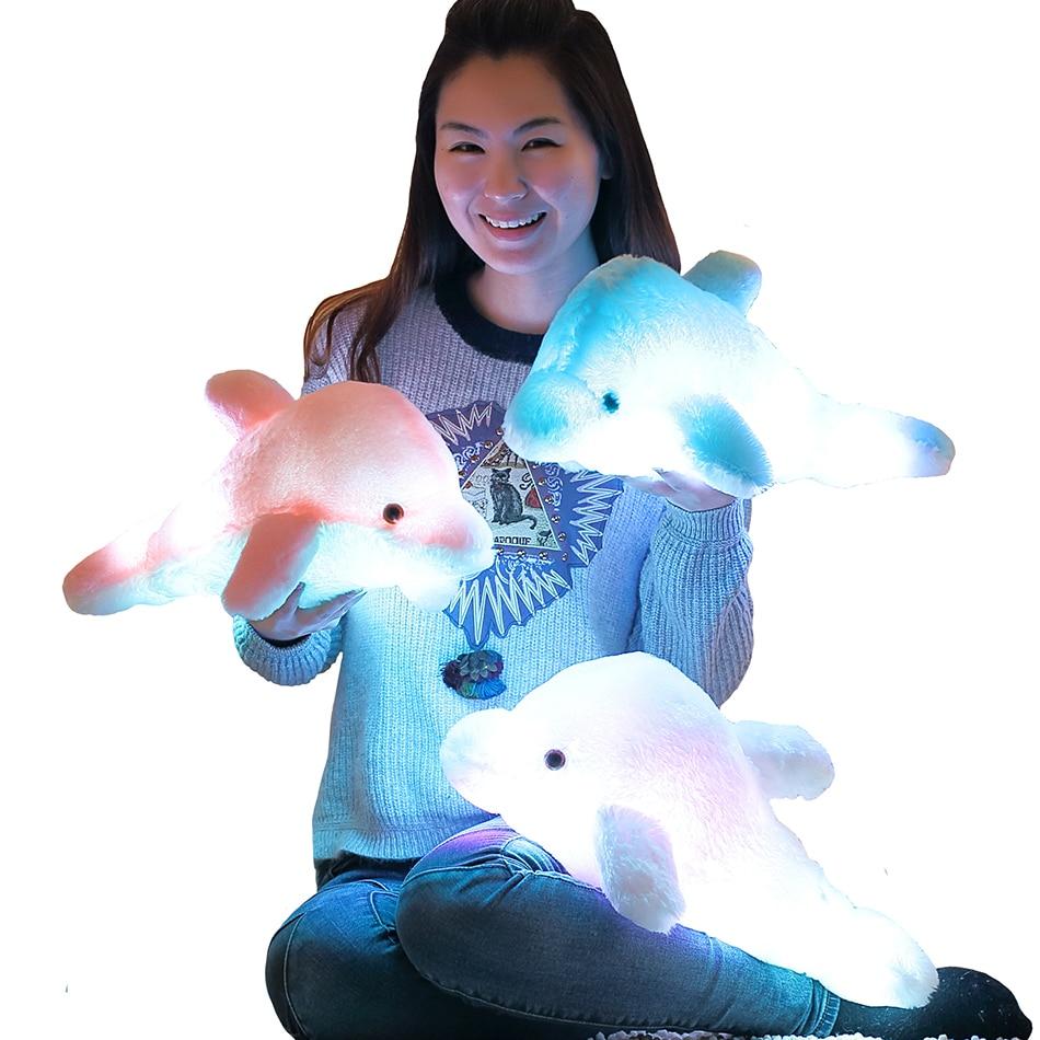 45cm/25cm Luminous Plush Dolphin Doll Glowing Pillow Cushion LED Light  Animal Toys Colorful  Kids Children's Gift WJ453