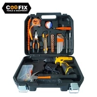 coofix portable hand tool set household repair multifunction tool kit 12v electric cordless drill knife power tool set
