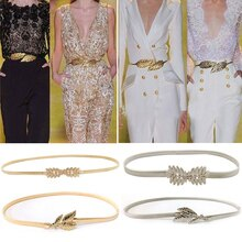 Flower leaves metal buckle belt for dresses women ladies elastic waist chain belts female gold thin belts fashion 2020 waistband