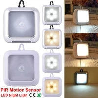 6 led pir motion sensor led cabinet light square battery powered night light suitable for cabinet kitchen closet corridor