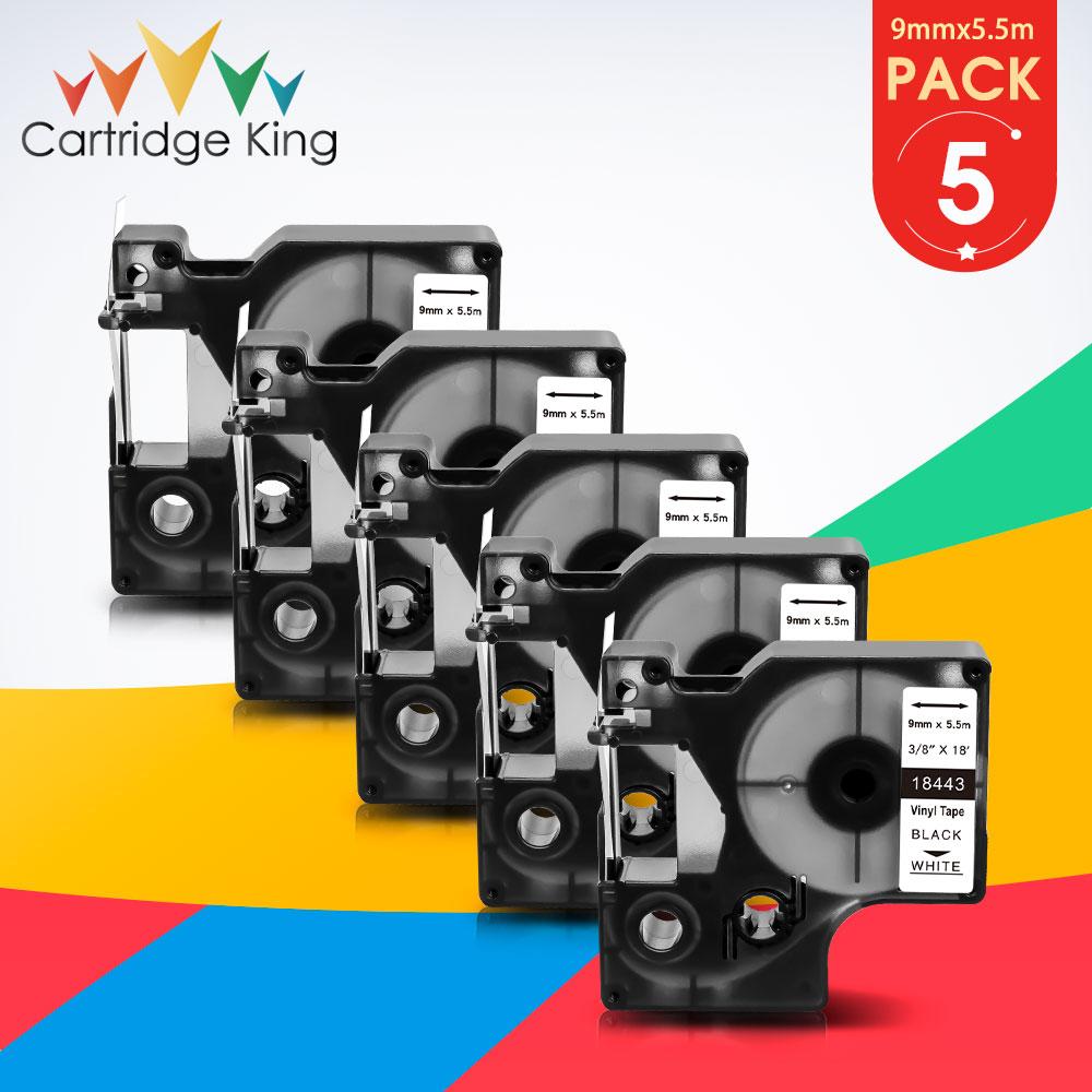 5PK para Dymo 18443 Rhino etiqueta de vinilo autoadhesiva 9mm negro sobre blanco cinta impresora para Rhino 1000 3000 4200 5000 5200 6000
