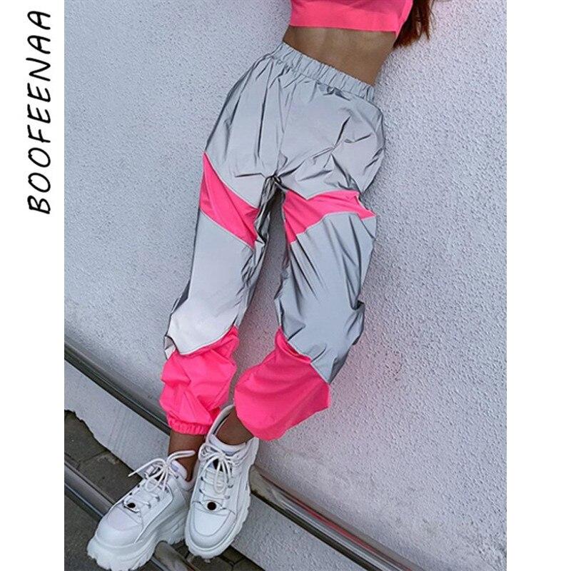 BOOFEENAA moda Joggers mujer Harem pantalones reflectantes neón Panelled casual Otoño Invierno pantalones Streetwear Sweatpants C70-AC57