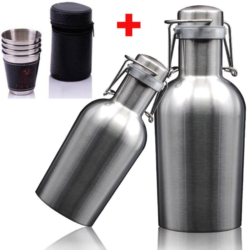 Cerveza saludable barril de acero inoxidable barril de vino 1L 1.5L 2L botella de doble pared tetera creativa jarra de vino regalos de Barware