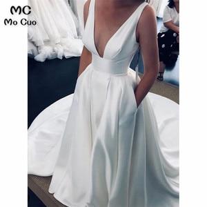 2019 Sexy Mermaid Wedding Dresses Long Deep V-Neck Spaghetti Straps Hard Satin Bridal Gowns for Women Wedding Dress