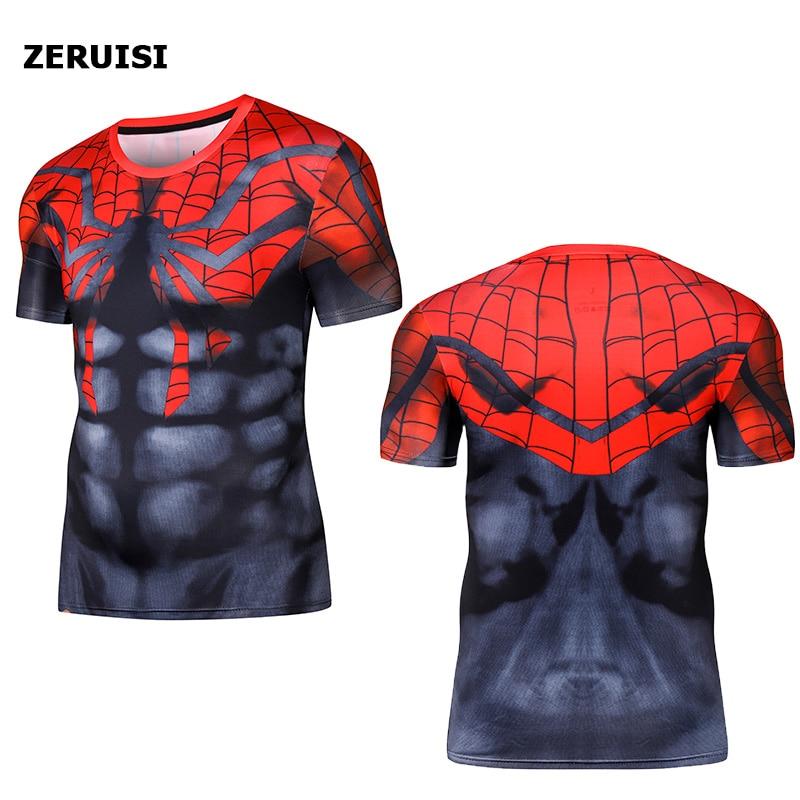 Short Sleeve 3D T Shirt Men T-Shirt Funny Tee Captain America Superman tshirt Men Fitness Compression Shirt Punisher MMA
