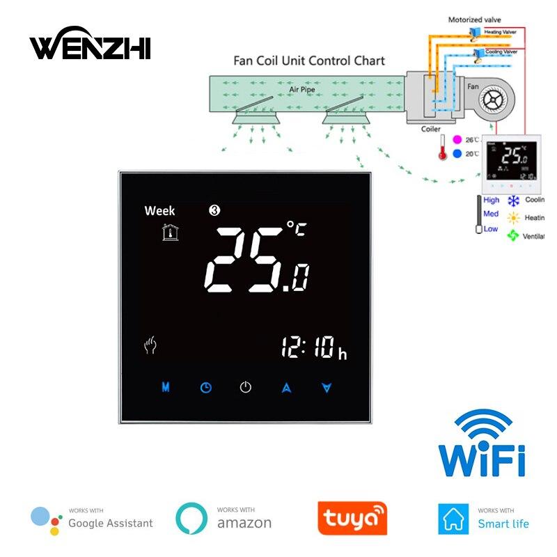 Wifi Air Conditioning Thermostat Fan Coil Unit Digital Temp Conditioner Controller 110V 220V Tuya Smart Life Alexa Google Home