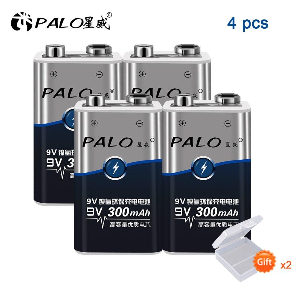 100% marke 4 teile/los Super Heavy PALO Batterien 6LR61 6F22 006p 9V nimh 300mah akku Für alarm, spielzeug, Walkman