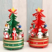Creative Rotating Musical Box Kids Gifts Christmas Decor Tree Wooden Music Box Desktop Decorations 2