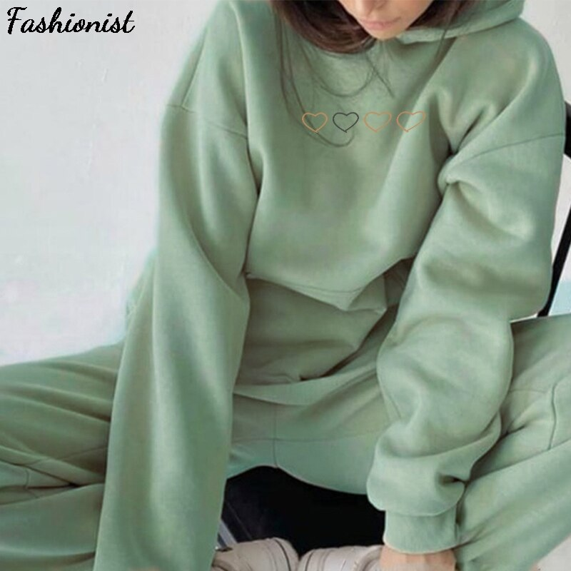 Heart Print Tracksuit Women's Suit Homewear Fleece Oversized Hoodie Pants Set 2020 Autumn Winter Sports Suits For Women