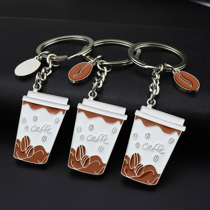 Creativa taza de café llavero de aleación de Zinc pintado monedero llavero mujer bolso coche Soporte para Llavero accesorios de moda niños regalo