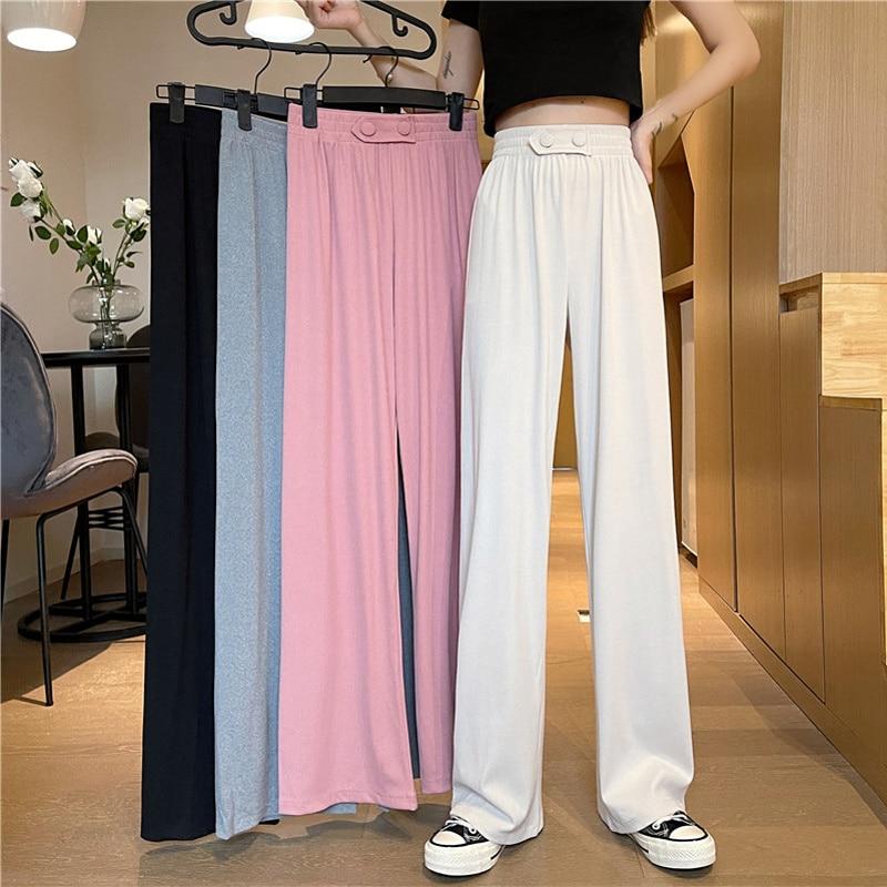 Casual Pants Autumn Korean 2021 New Solid Color High Waist Thin And Vertical Sense Button Wide Leg S