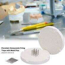 2 tepsi diş laboratuvarı petek yuvarlak ateşleme porselen tepsiler ile 20 adet Metal pimler diş teknisyeni malzemeleri
