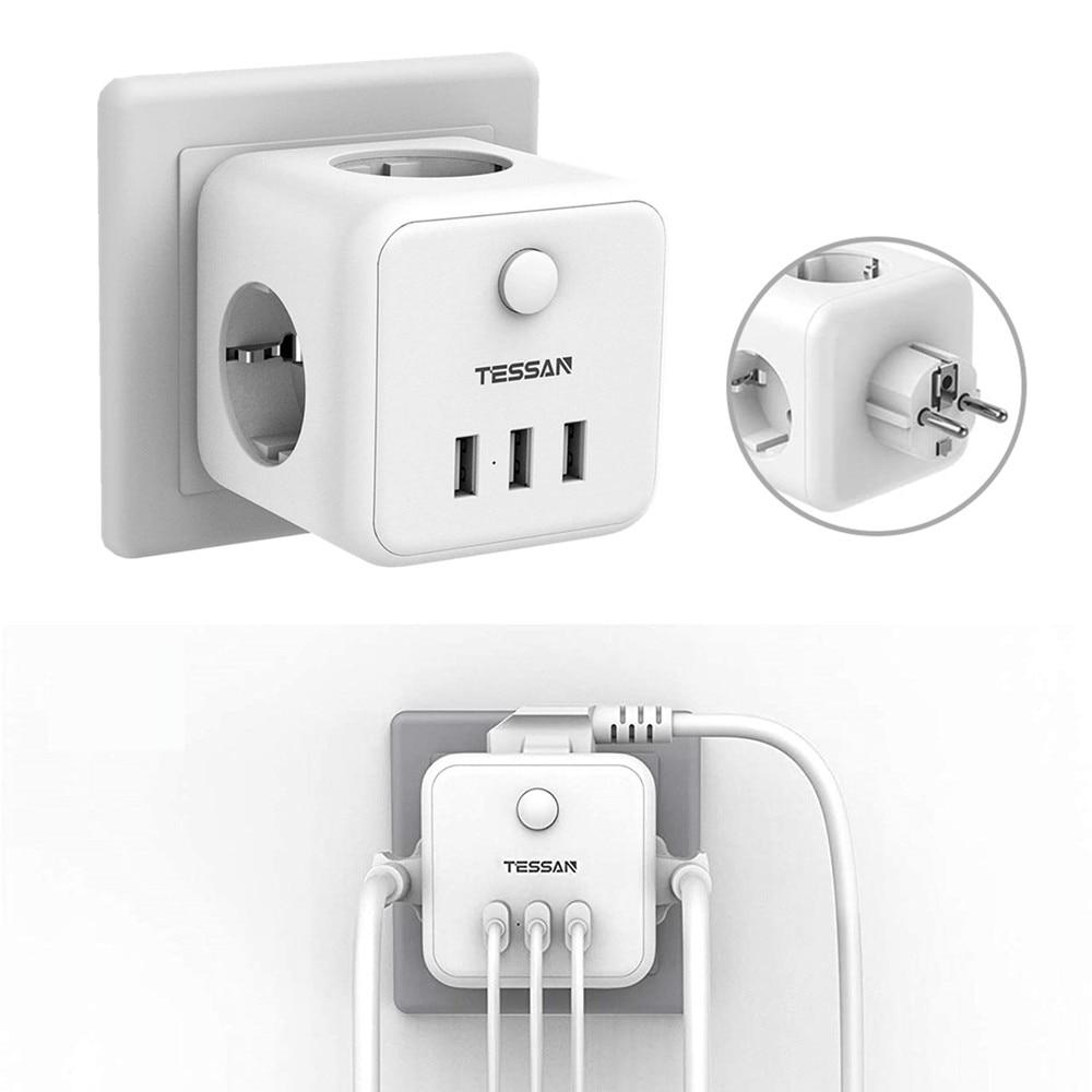 TESSAN-Alargador de escritorio para el hogar, Enchufe eléctrico de 3 tomas y...