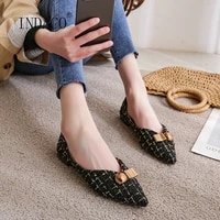 2021 new fashion spring shoes women flat pointed toe woolen gingham ballet flats metal decoration party shoes big size 33 43