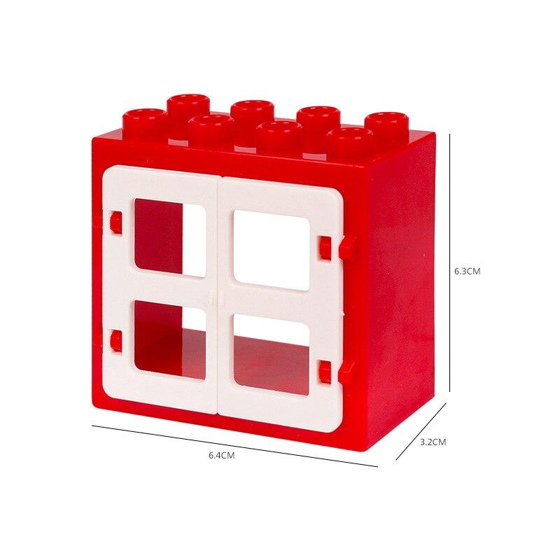 Duplo blocos janela 2x4 pontos tijolos partículas moc diy vermelho azul verde laranja amarelo tamanho grande moc peças blocos de janela kits duploed