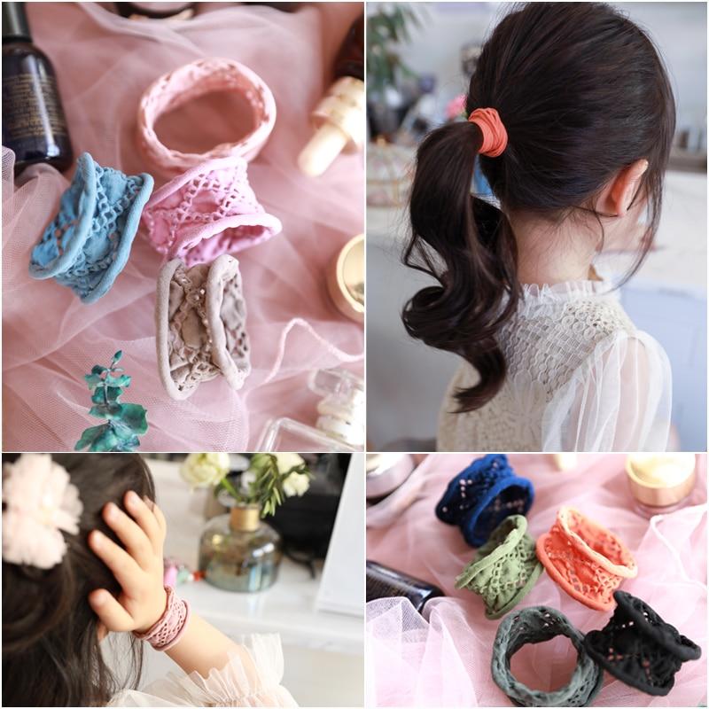 10PC girl Jacquard towel ring hair rope nylon Rubber Band seamless girls Ties elastic hair bands accessories scrunchy Headdress