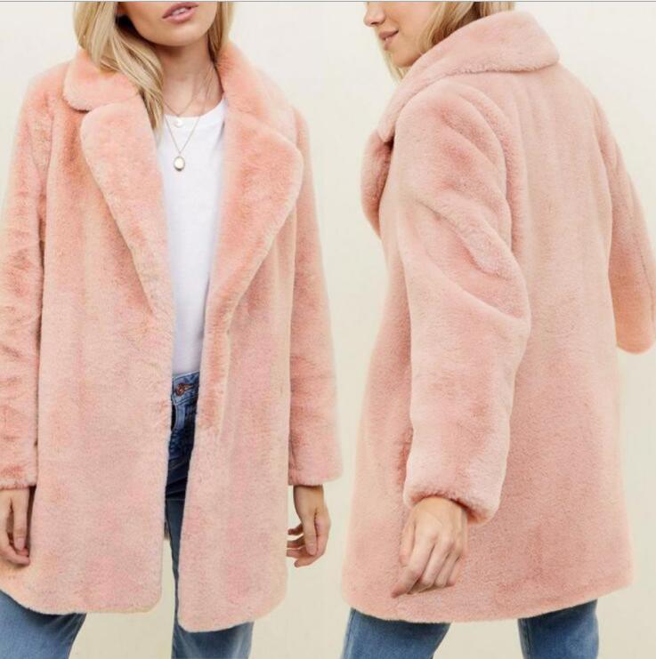 Oferta chaqueta de piel de visón de imitación de otoño para mujer invierno abrigo de piel de color rosa para mujer Chaquetas delgadas jaqueta de couro de moda
