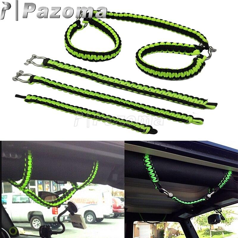 Asas de agarre de Paracord de 5 colores con anilla en D, lengüeta de tracción para Jeep Wrangler TJ CJ JK LJ JKU, accesorios de coche de 2 puertas y 4 puertas