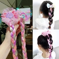 cute rainbow unicorn bow butterfly braid headband for girls kids cartoon hair rope rubber bands ponytail holder hair accessories