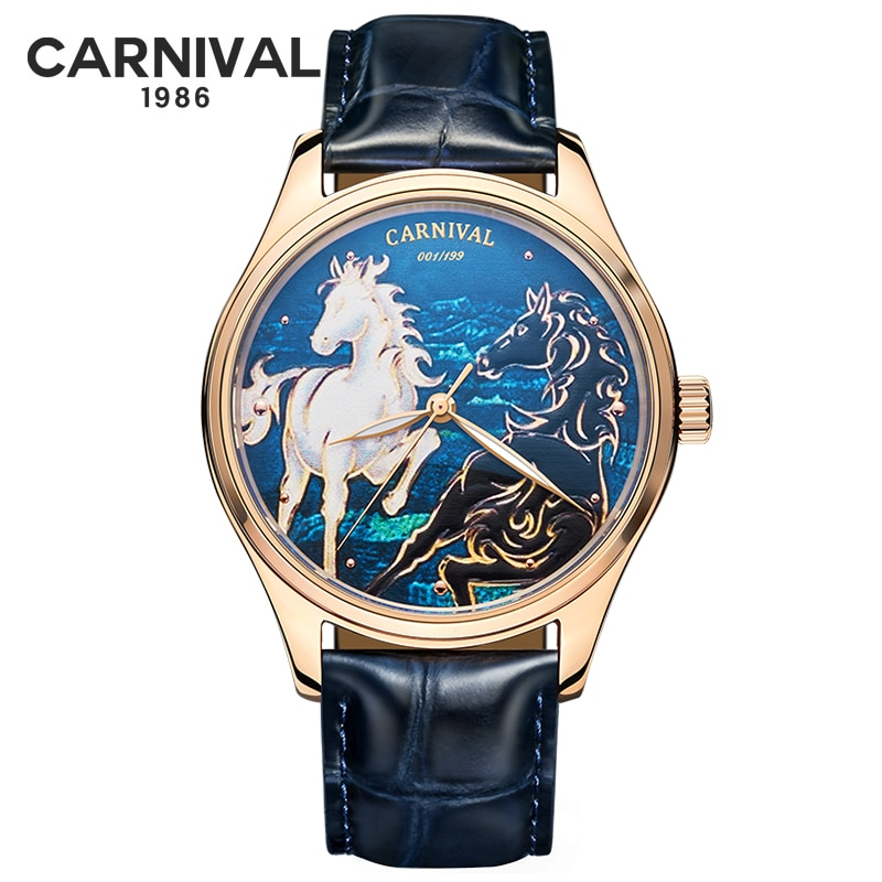 3D Horse Dial Men Watches Mechanical Hand Wind Luxury Top Brand MIYOTA Movement Automatic Mechanical
