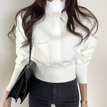 Early Spring 2021 Korean Chic Style Fashionable Stand Collar Loose Zip Solid Color Design Pocket Swe
