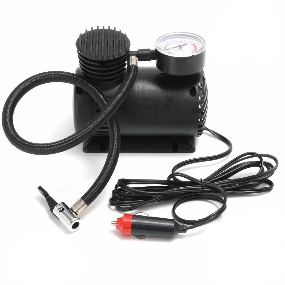 300PSI Mini 12V compresor de aire portátil Auto eléctrico coche bicicleta neumático inflador bomba con 2 adaptadores de boquilla accesorios de bicicleta