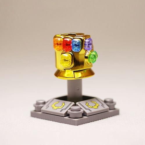 Chapeamento galvanoplastia ouro cor mini thanos infinity gauntlet blocos minifigure mini figura brinquedos