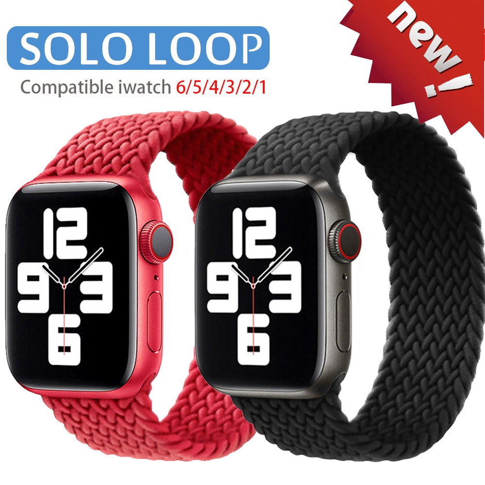 nylon braided solo loop for apple watch band 6 5 3 bands 44mm 40mm 38mm 42mm elastic strap bracelet for iwatch series 6 5 4 2 1 For Apple Watch bands 44mm 40mm 38mm 42mm Braided Solo Loop silicone Strap Elastic Bracelet for iWatch Series 6 SE 5 4 3 band