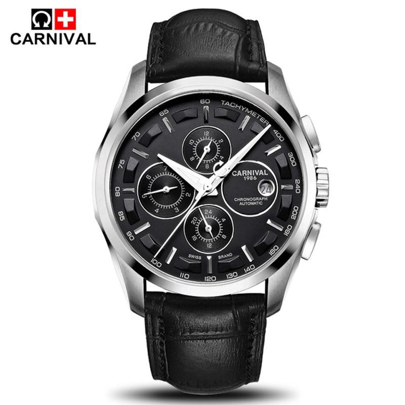 Carnival Luxury Brand Fashion Automatic Watch Men Waterproof Luminous Military Calendar Mechanical Wristwatch Relogio Masculino
