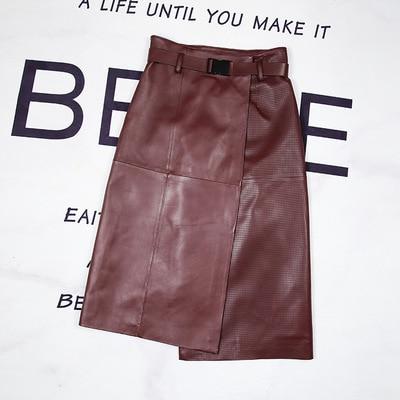 2020 Women Spring Genuine Real Sheep Leather Skirt E26