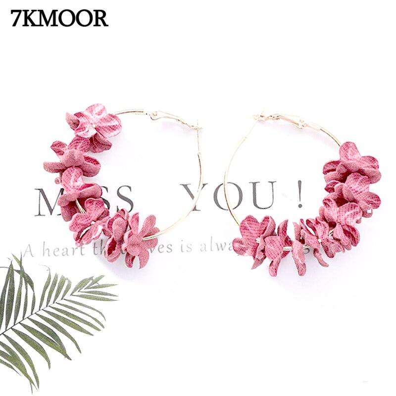 Pendientes de tuerca joyas de tela de flor elegantes coreanos 2019, pendientes grandes de aleación de pétalo dulce, pendientes grandes, pendiente para mujer KM24