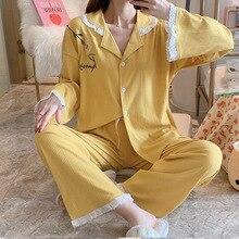 Fdfklak Cotton Pajamas Set New Women Long Sleeve Sleepwear Pajamas Suit Female Two Piece Sleepwear N