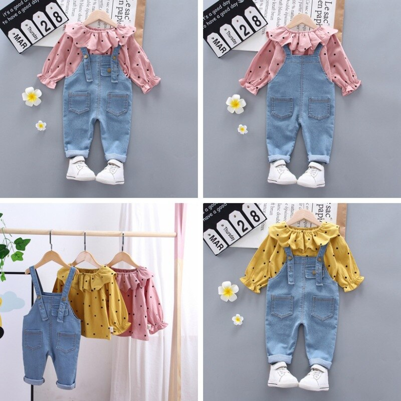 Baby Girls Clothes Sets Girls Autumn Outfits Long Sleeve Dot Lapel Print Coat +Strap Trousers Baby S