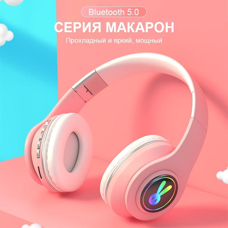 Cute LED Rabbite Bluetooth Kids Headphone With Microphone Foldable Wireless Earphone Girls