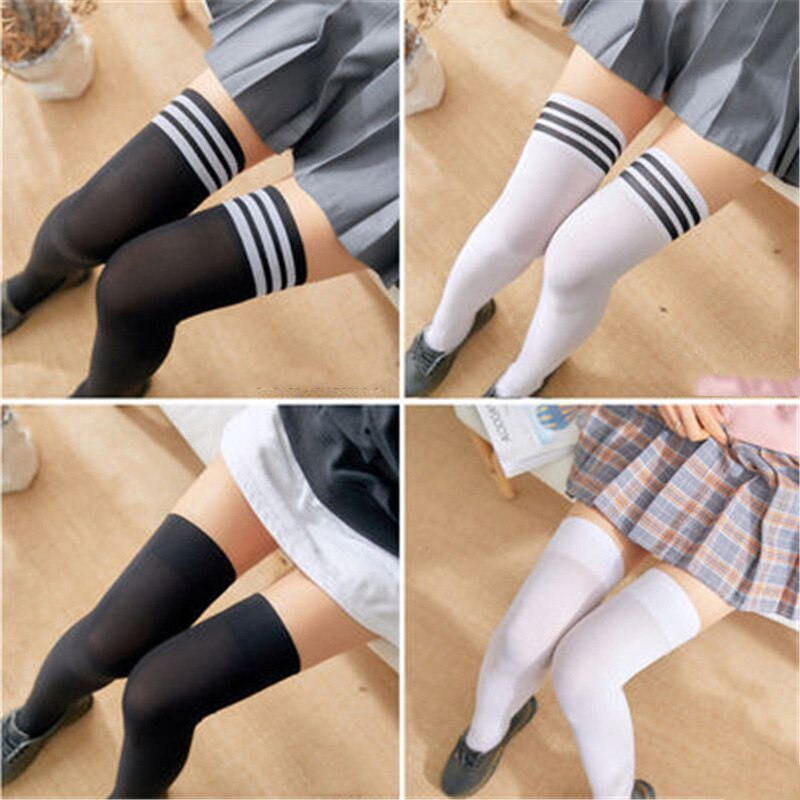 2 Pairs/Set New Sexy Black White Striped Long Socks Women Knee Thigh High Over The Stockings Ladies Girls Warm