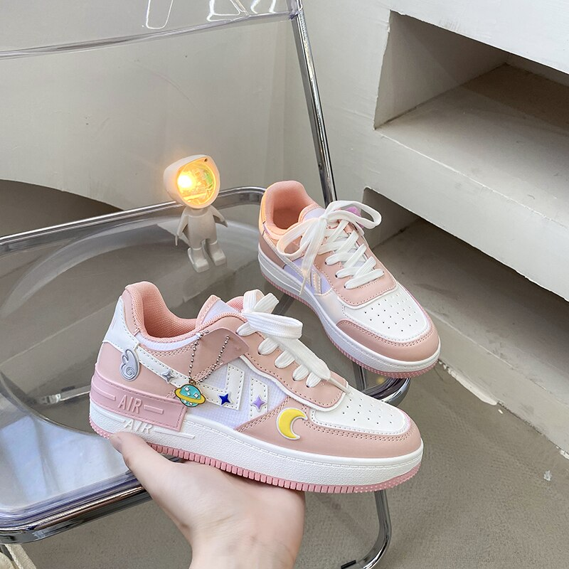 Women's Shoes Autumn New Thick-soled Increased Vulcanized Shoes PU Breathable Sports Shoes Comfortable Casual Shoes Women Vans