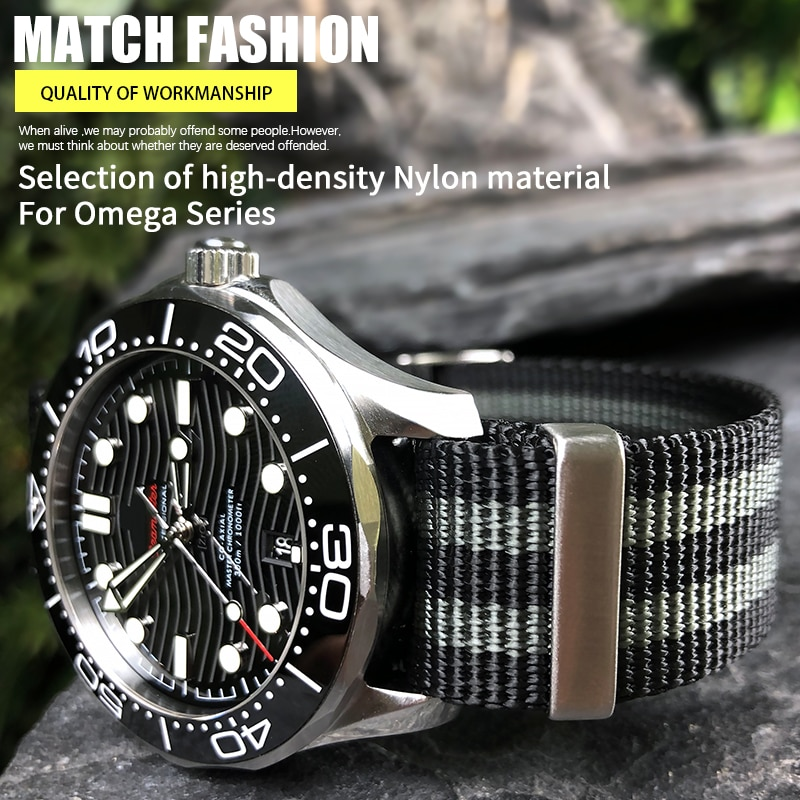 AliExpress - High Quality Nylon NATO Watchband 20mm 22mm Suitable for Omega 007 James Bond Seamaster 300 Commander 22mm Fabric Watch Strap